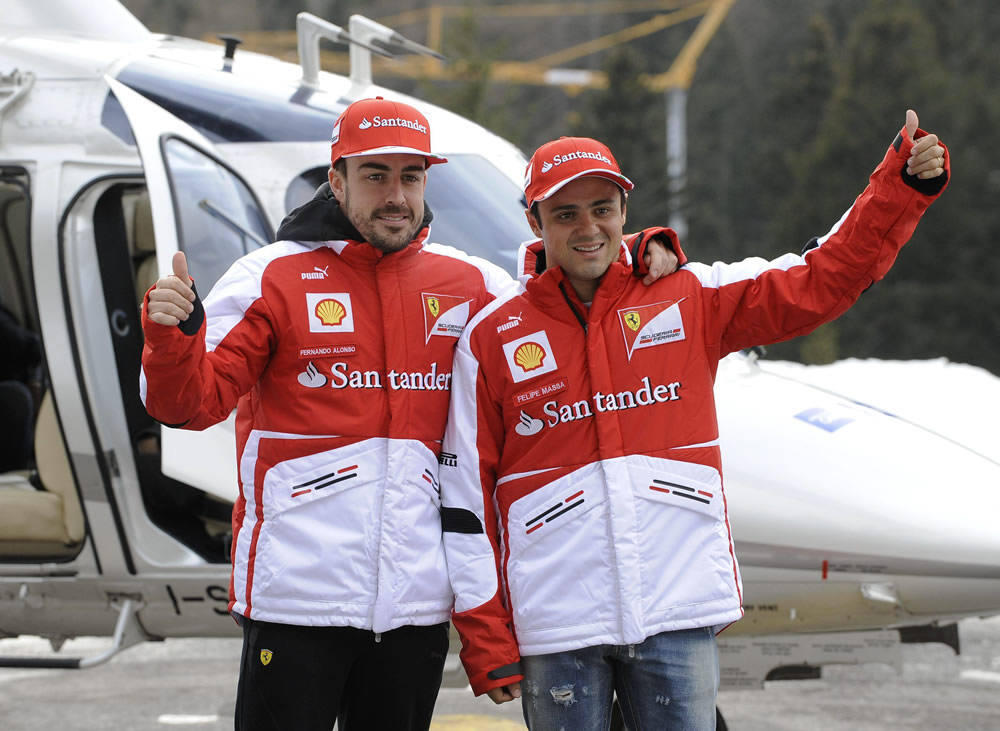 Alonso se va con sus compa&ntilde;eros de Ferrari a la concentraci&oacute;n de Madonna di Campiglio