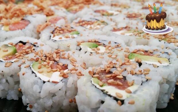 Menú variado de comida japonesa
