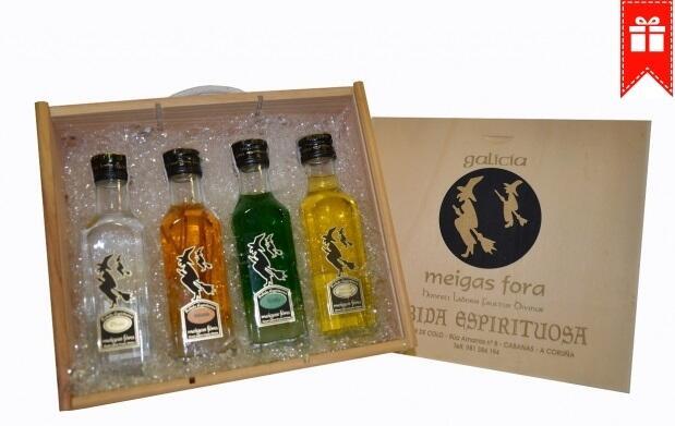 Caja con 4 botellas del mejor licor gallego