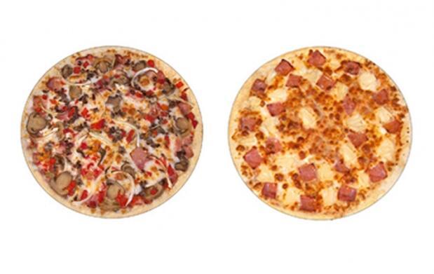 Dos pizzas medianas y bebida