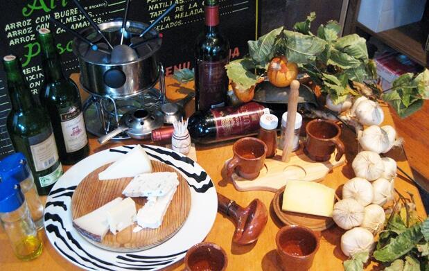 Menú con fondue de quesos asturianos