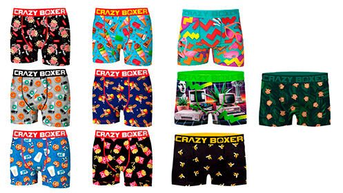 Pack 10 calzoncillos Crazy Boxer en varios colores para hombre