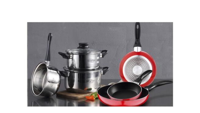 Batería de cocina 5 piezas acero inoxidable + set 3 sartenes San Igancio